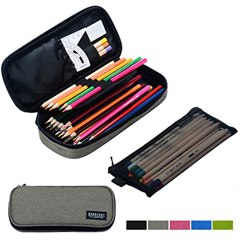 Srise Large Pencil Case Pencil Bag with Zipper Pencil Pouch for Boys & Girls (Gray) by Srise