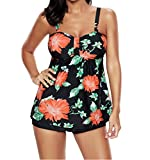 Tomlyws Floral Tankini Swimsuits For Women Retro 2 Piece Swimwear Padded Bathing Suits With Boyshort Bottom Black L