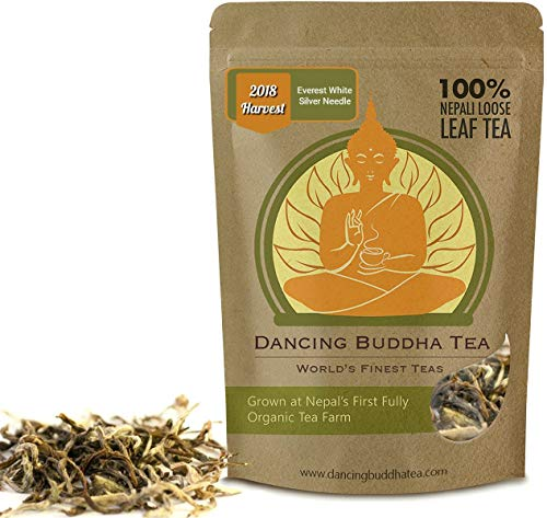 White Tea Loose Leaf by Dancing Buddha - Everest White Silver Needle - Pure Premium Gourmet - Brew Hot or Cold for Iced Kombucha Sun Tea - Resealable 50g Bag - Fair Trade Himalayan Organically Grown