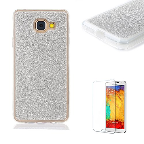 Galaxy A3 (2017) Case,Funyye Soft Silicone Gel TPU Ultra Thin Slim Glitter Gradual Colour Changing Protective Rubber Bumper Case Cover Shell Galaxy A3 (2017)-Silver