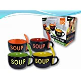 COLORFUL 8 PIECE CERAMIC DELUXE 16OZ. SOUP MUG SET - SOUP