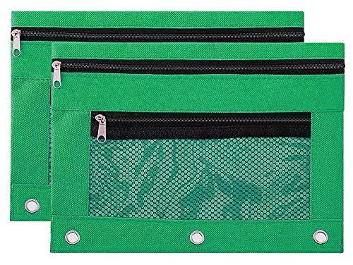Binder Pencil Pouch Zipper with 3 Ring and Double Pocket and Mesh Window(Green,2 Pack)
