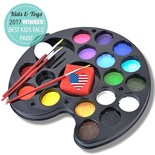 160 Faces Face Painting Kit 16 Washable Non-Toxic Color Vegan Body Paint Palette Set by Ava and Frank, 3 Brushes, 2 Sponges eBook for Kids Ages 3 Up Easy Fun for Parties, Events, Halloween (Zebra Face Paint Ideas For Halloween)