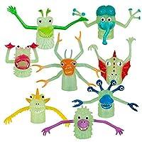 Set of 8 Glow In The Dark Monster Finger Puppet