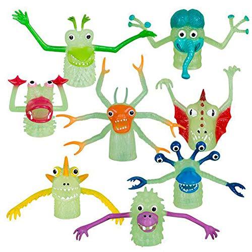 Set of 8 Glow In The Dark Monster Finger Puppet]()