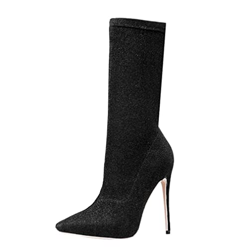 ENMAYER Womens Black Stretch Fabric Material High Heels Pointed Toe Mid-Calf  Stiletto Boots 4 33a4712c1fd7