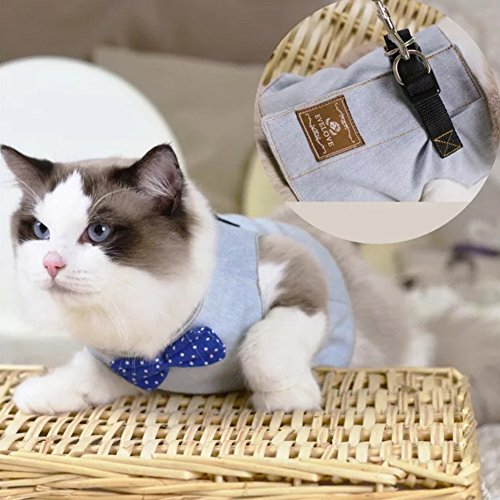 Stock Show Cat/Dog Walking Jackets Cat Harness Vest and Matching Lead Leash Set with Cute Bowtie, Detachable Leash Reteo British Style Hareness for Puppy Mediums Dogs Cats (L, Light Blue) ()