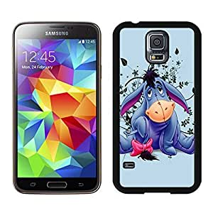 Cartoon Cute Eeyore Donkey Flower Pattern Black Case with Fashion and Charming Design for Attractive Samsung Galaxy S5 i9600