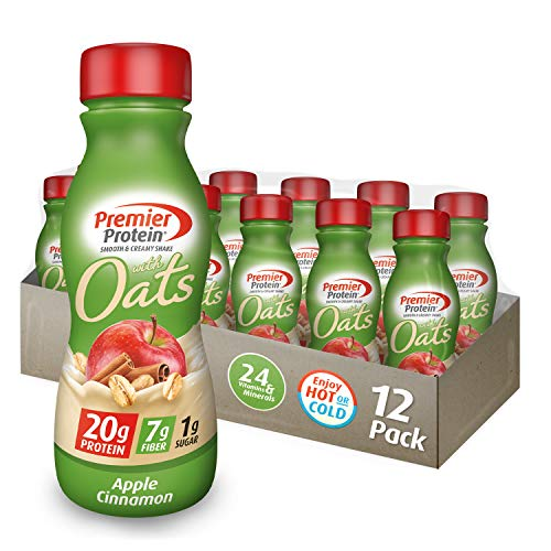 Premier Protein 20g Protein Shake with Oats, Apple Cinnamon, 11.5 Fl Oz Bottle, (12Count)
