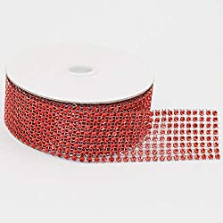"8 Row 10 Yards, 1.5"" X 30FT Sparkling Acrylic Rhinestone Ribbon Bling Diamond Mesh Wrap Trimming DIY Roll for Event, Wedding, Birthday, Baby Shower,Room, Parties, Crafts Projects (Red)"