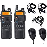 2pcs Baofeng UV-5R8W High Power 8W Tri-Power 1W/4W/8W Portable Dual Band Two-Way Radios 3800mAh battery with 3 antennas + 2 Speakers + 2 Car Charger Cables +1 USB Programming Cable