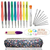 40 PCS Crochet Needles and Crochet Hooks Set,Crochet Hook Set with Case Plus Large-Eye Blunt Needles Yarn Knitting,Scissors and Locking Stitch Marke,American Letter Size