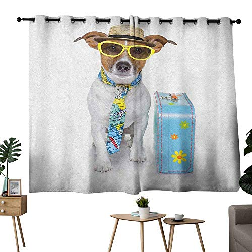 Dog Polyester Curtain Traveler Funny Dog Dressed as a Tourist with Hat Glasses Necktie and a Floral Suitcase Noise Reducing 63