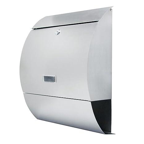 LZQ Estilo moderno Buzón de Acero Inoxidable Buzón de Exterior ara cartas y correo postal con el periódico rollo Bloqueable 2 Llaves,Plata,350 x 420 x ...