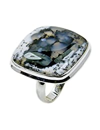 Queen of the Night' Large Sterling Silver Rare Dendritic Opal Ring, Size 7.75