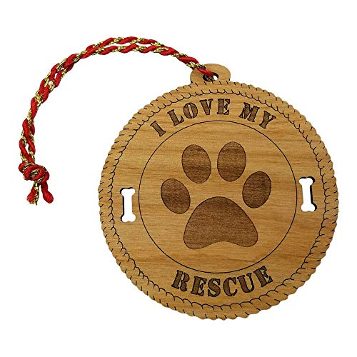 - Imprints Plus Laser Cut Alder Wood I Love My Rescue OrnamentHand FinishedandLacquerCoated Includes Gold Hangar (AW OR 7057)