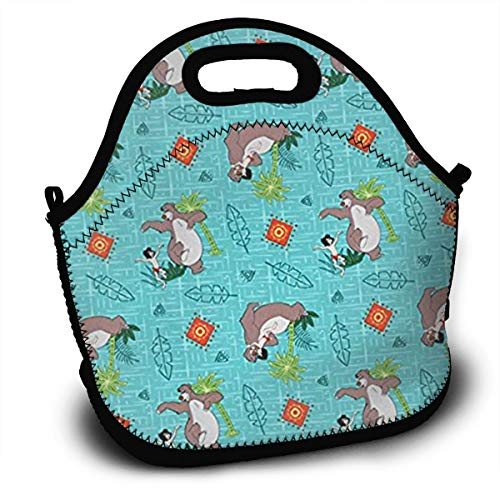 Fashinable Lunch Bag Insulated Lunch Box Tote Bag with Shoulder Strap - Springs Creative Jungle Book Printed - Perfect for Women, Men & Kids