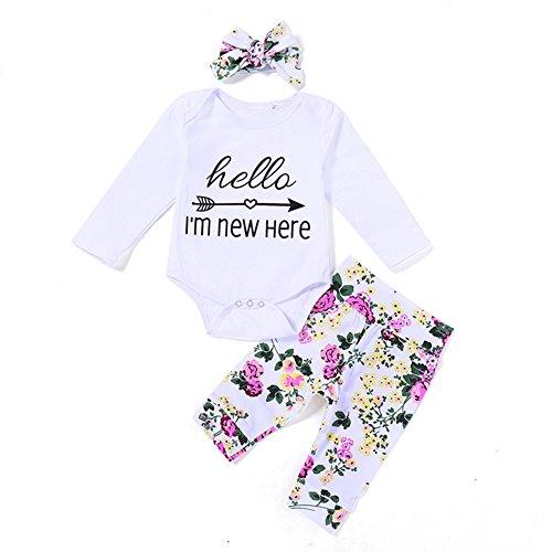 Here Onesie (Kingte Newborn Baby Boys Girls Hello I Am New Here Funny Arrow Romper Top +Floral Legging Pants Headband 3Pcs Outfit Set (0-6M))