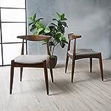 Sandra Dark Beige with Walnut Finish Mid Century Modern Dining Chairs (Set of 2)