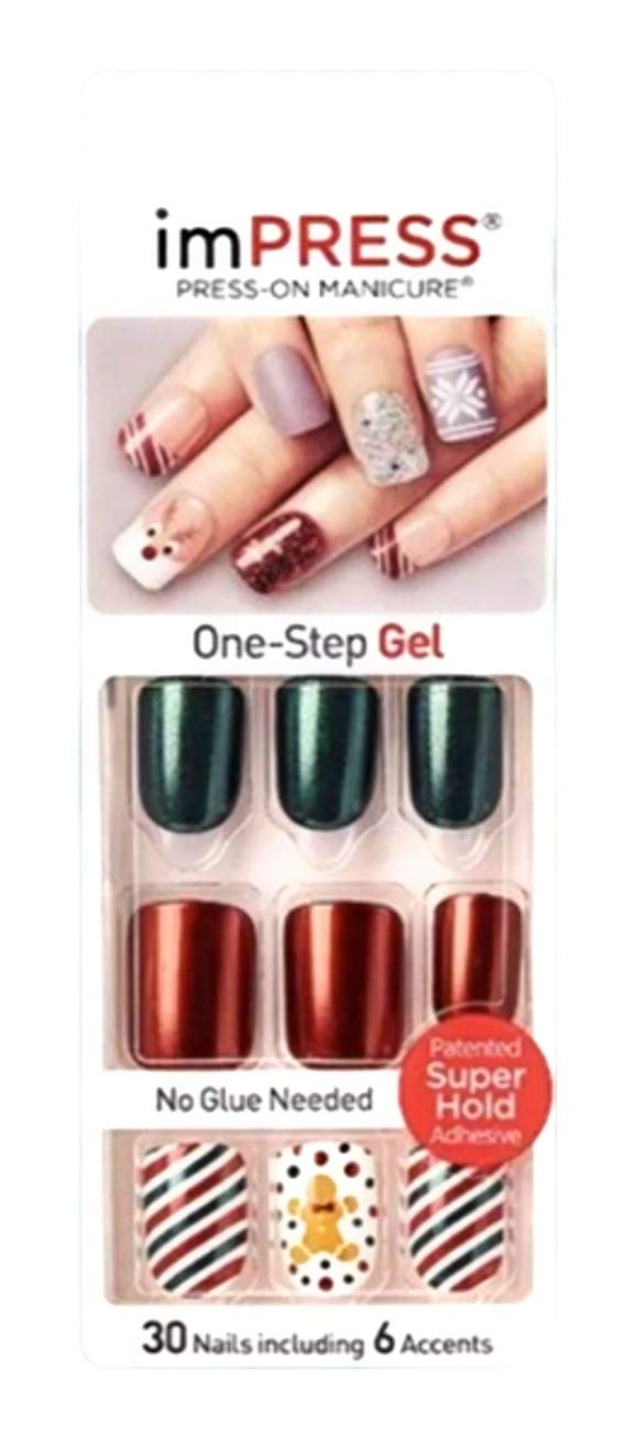 Kiss imPress Press,On Manicure Christmas Red and Green Nails 67978 Claim to  Fame