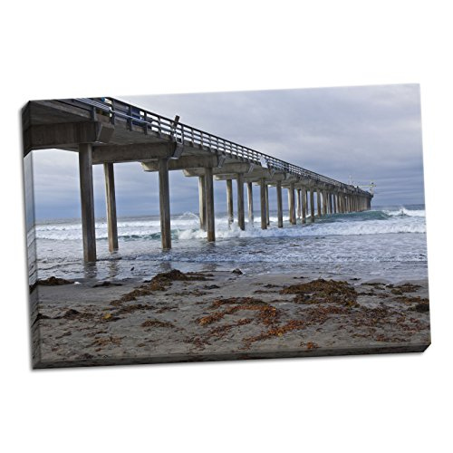 Scripps Pier II, Fine Art Photograph By: Lee Peterson; One 36x24in Hand-Stretched Canvas by Gango Home Décor