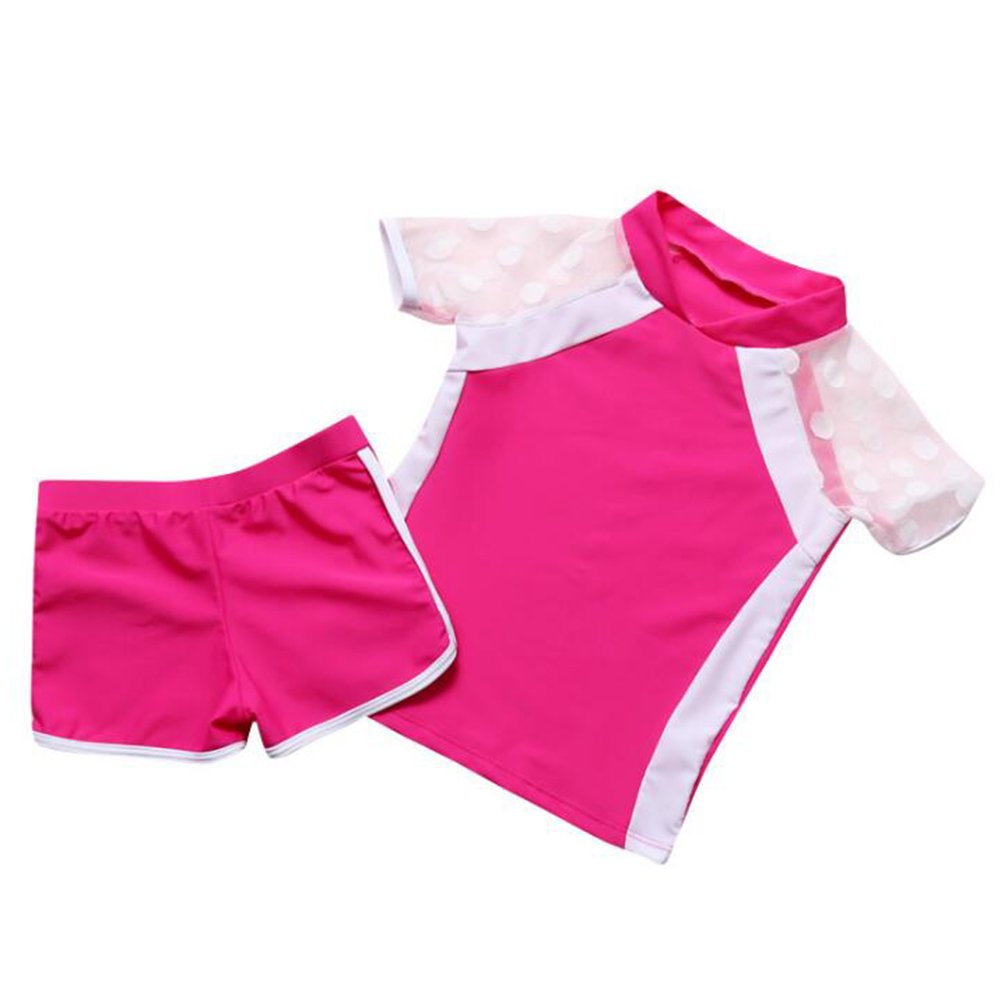 Little Girls Two Pieces Swimsuit Set Big Girls Lace Short Sleeve Bathing Suit Sunsuit Rash Guards UPF 50+