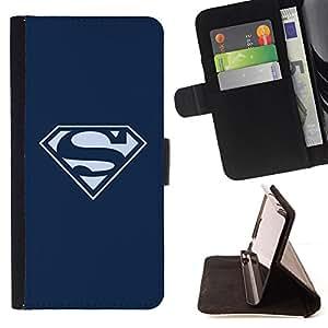 KingStore / Leather Etui en cuir / Apple Iphone 6 PLUS 5.5 / SUPERHERO LOGO S