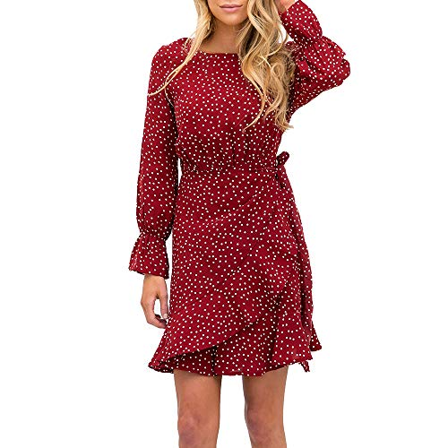 Dress Front Dotted (Relipop Women's Dress Polka Dot Print Long Sleeve Crewneck Fishtail Short Dresses)
