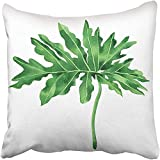 Throw Pillow Cover Square 18x18 Inches Watercolor Painting Tropical Palm Leaf Green Leaves White Hand Exotic for Vintage Hawaii Polyester Decor Hidden Zipper Print On Pillowcases