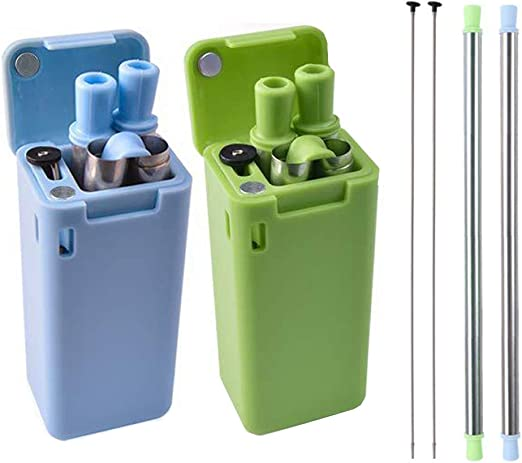 Reusable Green Food Grade Coffee Drinking Straws Bent Straw With Box Portable