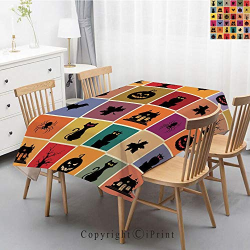 Modern Stitching Tassel Tablecloths Fabric Dust-Proof Table Cover for Kitchen Dinning Tabletop Oblong/Rectangle,47x63 Inch,Vintage Halloween,Bats Cats Owls Haunted Houses in Squraes Halloween Themed D ()