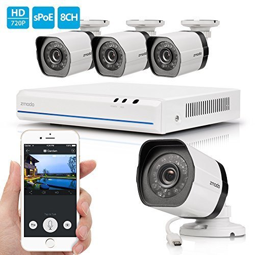 Zmodo 4 Channel HDMI NVR 4x720p HD Security Camera Smart Simplified PoE System No Hard Drive by Zmodo