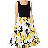 Siviki Elegant Summer Women Vintage Lemon Floral Print Sleeveless Casual Party Ball Swing Dress (S)