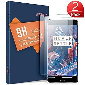 OnePlus 3 / OnePlus 3T Protector de Pantalla,SLEO Vidrio Templado Anti-reflejo con Alta Dureza y Alta Transparencia para OnePlus 3 / OnePlus 3T - 2 Pack: ...
