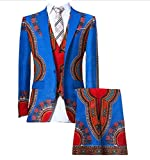 Comaba Men's Africa Dashiki Blazer Vest Set Pants Classic Business Suit 14 L
