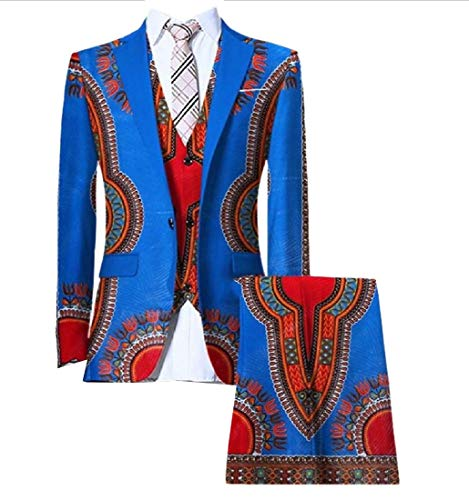 Comaba Men's Africa Dashiki Blazer Vest Set Pants Classic Business Suit 14 L by Comaba