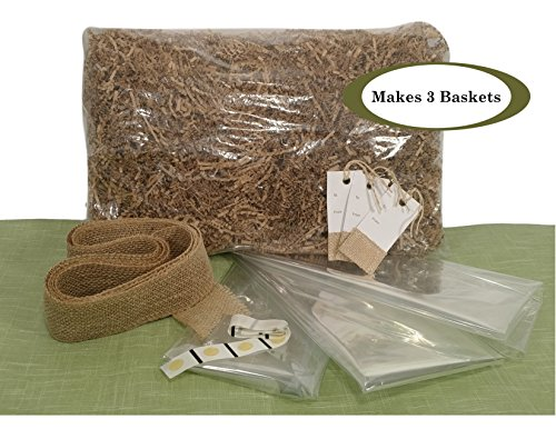 "Gift Basket Supplies Kit – Includes 3 Large 24"" x 30"" Cellophane Bags, 1 LB Kraft Crinkle Cut Paper Shred Filler, Ribbon, Gift Tags, and Glue Dots"