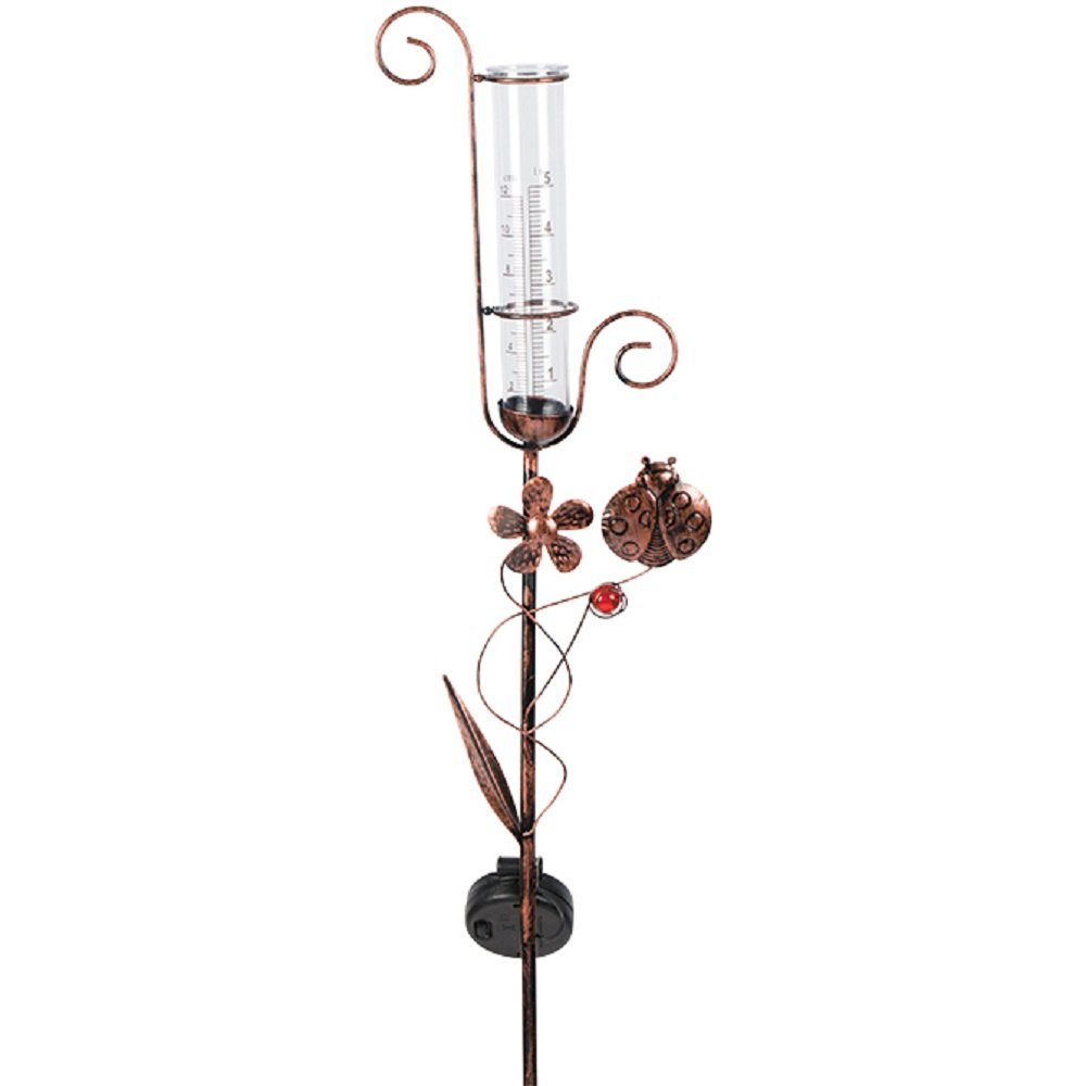 Carson Ladybug Solar Rain Gauge Outdoor Decorative Garden Stakes