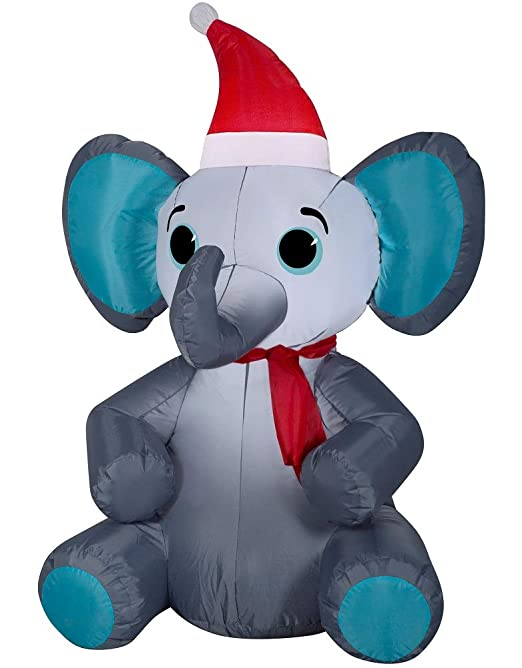 Holiday Time Gemmy - Elefante Hinchable de Navidad con Gorro de ...