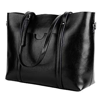 YALUXE Women's Leather Work Tote Large Shoulder Bag Purse Pocketbook Black