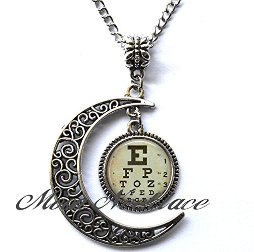 Moon Necklace, Crescent Moon Necklace, Simple Necklace,Eye Chart necklace, optometrist necklace ophthalmologist gift, optician optometrist pendant graduation gift