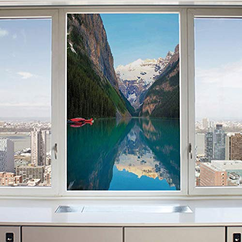 (3D Decorative Privacy Window Films,Lake Louise with a Red Canoe Banff National Park Canada Wilderness Nature Picture,No-Glue Self Static Cling Glass film for Home Bedroom Bathroom Kitchen Office 17.5x)