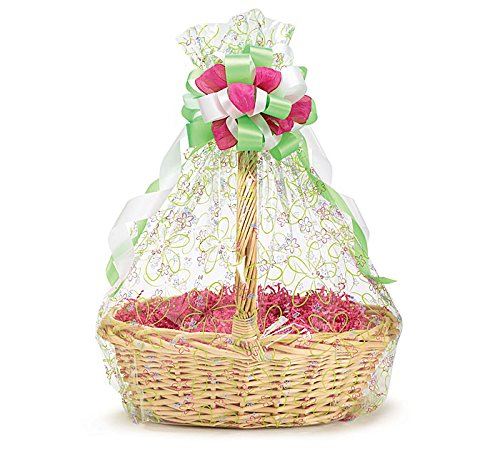 A1BS Clear Cello Cellophane Bags Gift Basket Package Flat Gift Bags 5 Pack (24 In X 30 In Blooms)