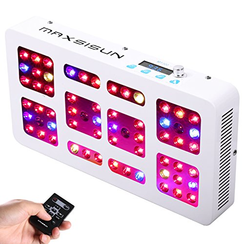MAXSISUN Timer Control 300W LED Grow Light 12-band Dimmable Full Spectrum for Indoor Hydroponics Plants Veg and Flowering by MAXSISUN