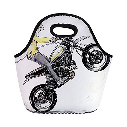 Semtomn Neoprene Lunch Tote Bag Activity Cool Boy Riding Motorcycle Automotive Bike Biker Black Reusable Cooler Bags Insulated Thermal Picnic Handbag for Travel,School,Outdoors,Work