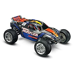 Traxxas Nitro Rustler: 2WD Stadium Truck with TQi 2.4 GHz Radio & TSM (1/10 Scale), Blue