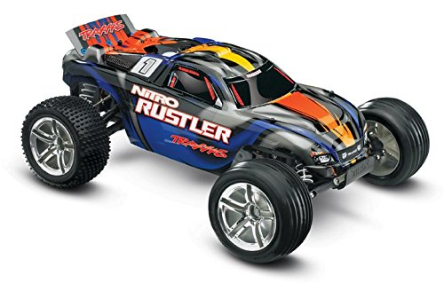 Control Car Nitro Remote Gas (Traxxas Nitro Rustler: 2WD Stadium Truck with TQi 2.4 GHz Radio & TSM (1/10 Scale), Blue)