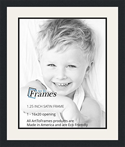 Photo Framed 16x20 (ArtToFrames Collage Photo Frame Double Mat with 1-16x20 Openings and Satin Black Frame)