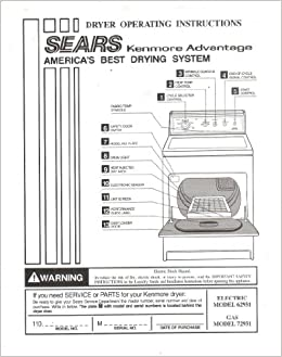 Vintage sears laundry kenmore automatic dryers instructions manual.
