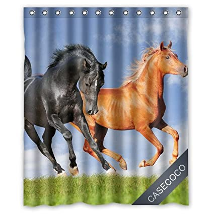 Running Horse Custom Waterproof Polyester Fabric Bathroom Shower Curtain With 12 Hooks 60quotw